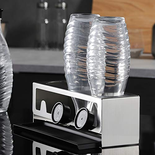 YIGII SodaStream Flaschenhalter - Premium Sodaclean Abtropfhalter aus Edelstahl Abtropfständer mit Abtropfwanne für 3 SodaStream Crystal | Emil Flaschen