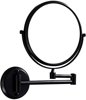 YASE-king Wall-Mounted Makeup Mirror Wall-Mounted Black Simple 6-inch Makeup Mirror Double-Sided Rotating Folding 3X Magni...