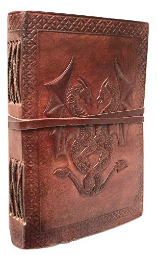 Handmade Vintage Antique Looking Double Dragon Genuine Leather Bound Journal Diary Notebook Travel ScrapBook Photo album Sketchbook with Blank Unlined Pages to Write Sketch Gift for Men Women Gift