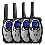 FLOUREON 4 Pack Kids Walkie Talkies 22 Channel Two Way Radios Long Range 3000M (MAX 5000M Open Field) UHF Handheld Outdoor Walkie Talky (Silver)