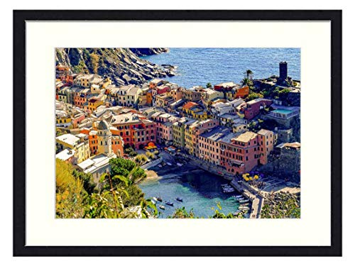 OiArt Wall Art Canvas Prints Wood Framed Paintings Artworks Pictures(20x14 inch) - Cinque Terre Vernazza Village Mediterranean Coast 7