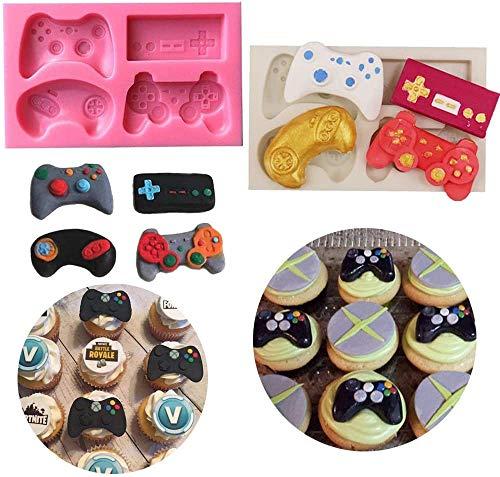 INTVN 2PCS Spiel-Controller-Form aus Silikon, Mini-Silikon-Spiele-Controller-Form für Süßigkeiten, Schokolade, Kuchendekoration, Harz, Ton Rose