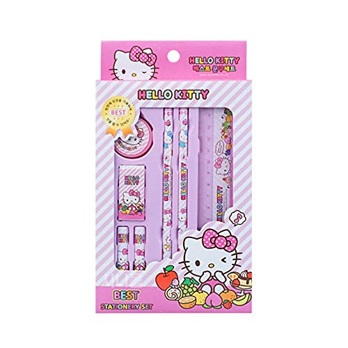 Hello Kitty Best Pencil Ruler School Supply Gift Stationery Set 7pcs (Pink)