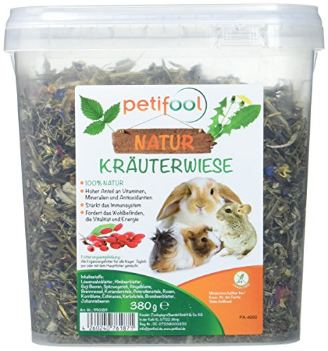 petifool Nager-Ergänzungsfutter Kräuterwiese, natürliches und gesundes Kaninchenfutter, 1er Pack (1 x 380 g)