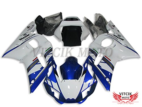 VITCIK (Fairing Kits Fit for Yamaha YZF-600 R6 1998 1999 2000 2001 2002 YZF 600 R6 98 99 00 01 02 Plastic ABS Injection Mold Complete Motorcycle Body Aftermarket Bodywork Frame (Blue & White) A089