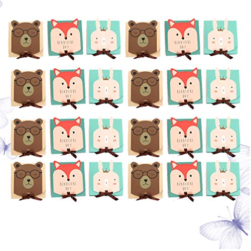 TOPBATHY 18PCS Cartoon Candy Boxes Square Bakery Boxes Color Pastry Containers for Small Bakery Boxes, Dessert, Candy, Cookies, Pastry, Treat, Party Favor