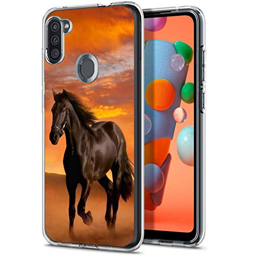 Compatible with Samsung Galaxy A11 Case Horse Pattern Crystal Print Soft Super Silm Clear Case for Samsung Galaxy A11 Scratch-Proof Protective Cover