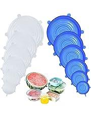 DigHealth Tapas de Silicona EláSticas, 12 Paquetes de Varios TamañOs de Fundas para Tazones de Silicona, Reutilizable Fundas Protectoras para Alimentos Tapa Tazas, Boles o Tarros,Sin BPA, Lavavajillas