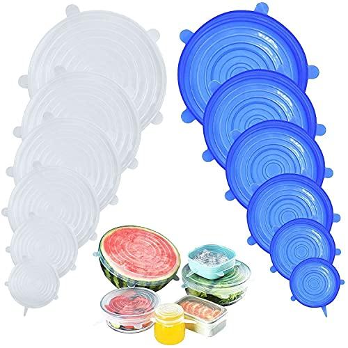 DigHealth Coperchi in Silicone Stretch, 12 Pack di Diverse Dimensioni Coperchio in Silicone per Alimenti, Riutilizzabile ed Espandibile Coperchio per Tazza per Pentole e Freezer - BPA Free