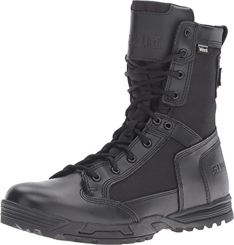 5.11 Tactical Men's 8-Inch Leather Skyweight Side Zip Waterproof Combat Military Boots, Black, 39 EU, Style 12321