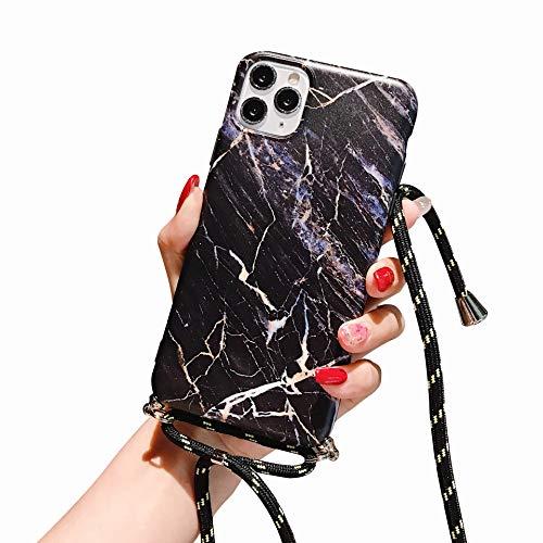 Suhctup Compatible pour iPhone 12 Coque Silicone avec Cordon de Collier Réglable Lanière Marbre Motif Étui Ultra Mince Souple TPU Housse Anti-Chocs Protection Cover-Marbre 4