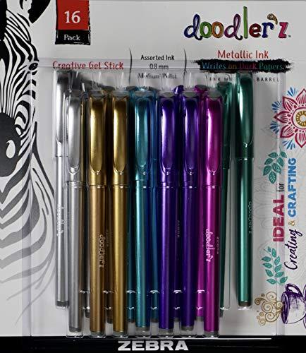 Zebra Doodler'z Gel Pens Metallic Ink, Medium Point, 16 Count