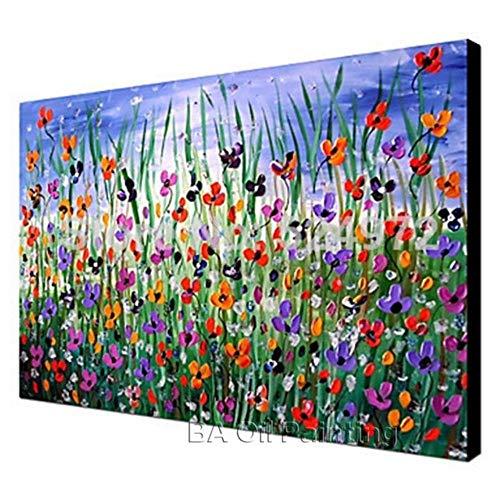 WWZEMLK 100% Pintado a Mano Moderno decoración del hogar Imagen de Arte de Pared Muchas Flores espátula Gruesa Pintura al óleo sobre Lienzo sin Marco 60 cm x 90 cm