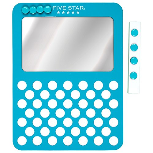 "Five Star Locker Mirror and Board, Magnetic, Push Pin, School Locker Accessories, 6"" x 8"", Teal (73539)"