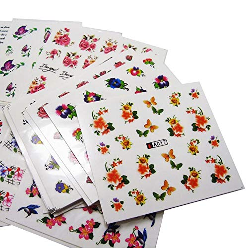 50 Blätter Nagelsticker Blumen Aufkleber Sommer Nailart Sticker Nail Kunst Tattoo Maniküre Deko DIY Nagel Abziehbilder