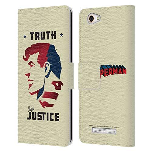 Head Hülle Designs Offizielle Superman DC Comics Truth and Justice Darsteller Kunst Leder Brieftaschen Huelle kompatibel mit Wileyfox Spark X