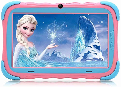 Kindertablet, 7 Zoll Kinder Tablet Pad Lerntablet für Kids, 16 GB, IPS-Touchscreen, WiFi, Bluetooth & Google Play, Dual-Kamera mit kindgerechte Silikon Hülle Tablet (Pink)…