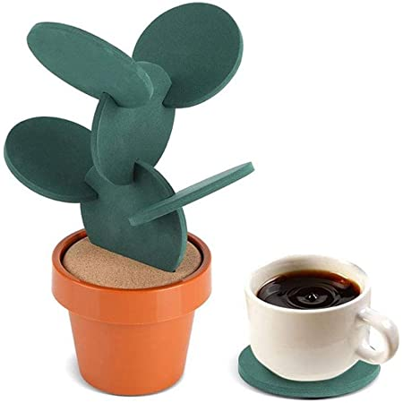 Buery Coasters DIY Cactus Coasters Set of 6 with Flowerpot Holder for Drinks, Bar Coasters Creative Gift for Home Office Cactus Decor (Green)
