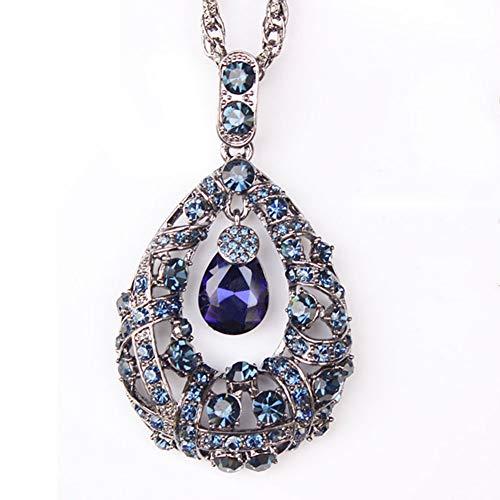 XINGYU Suéter Cadena Mujer Collar Colgante Otoño Invierno Azul Cristal AAA Diamante Largo Simple Retro Enchapado Joyería Regalo