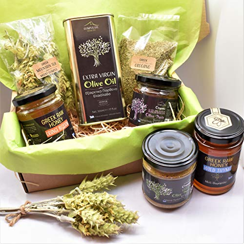 Greek Treat Box Delicious Greek Hamper Basket Gift Set // Olive Oil +Olive Paste +Raw Honey+Oregano +Mountain Tea (Oak Honey, Organic Green Olive Paste)