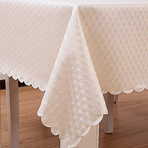 Ahuike Mantel para Mesa de Cocina o Salón Hojas Rectangular PU Reutilizable Impermeable Diseño de Comedor decoración del Hogar Blanco 140 × 240 cm