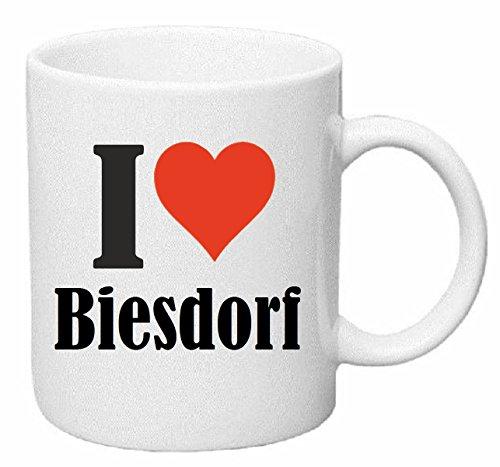 Kaffeetasse I Love Biesdorf Keramik Höhe 9,5cm ⌀ 8cm in Weiß