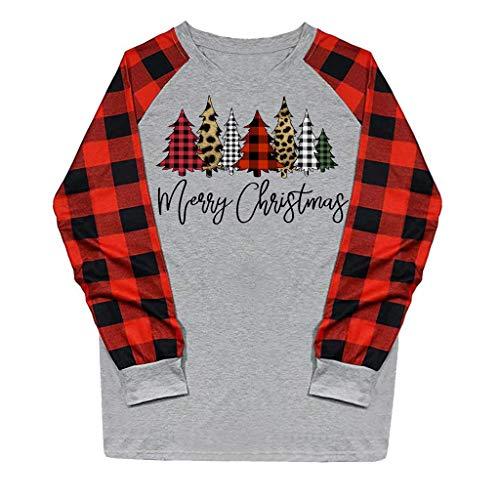 Best Bargain ZOMUSAR Women Casual Christmas Printing Plaid Raglan Long Sleeve Xmas Shirts Blouse Top...