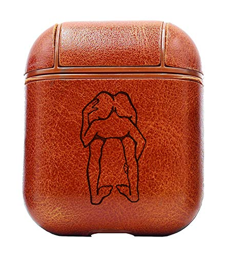 Humor Funny S Head UP Ass (Vintage Brown) Air Pods Protective Leather Case Cover - a New Class of Luxury to Your AirPods - Premium PU Leather and Handmade exquisitely by Master Craftsmen