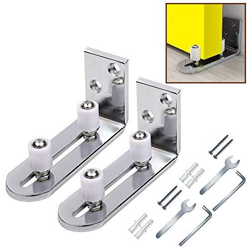 GIFSIN Schiebetür Bodenführung 2 Pack Verstellbar Wandhalterung Rollenführung Kugellager für Die Wandmontage Silber