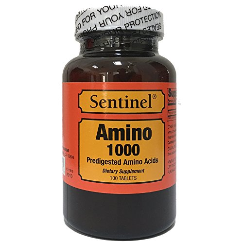 Sentinel High Quality Amino 1000 Predigested Amino Acids Supports Muscle Repair and Workout Recovery, Made in USA, 100 Tablets