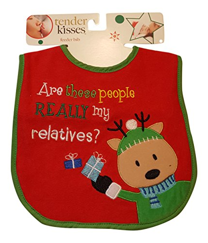 Holiday Tender Kisses Infant Embroidered Bib ~ Are These People Really My Relatives? ~ Red