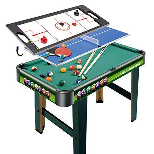 ZXQZ Tischbillard 3-in-1 Multi Arcade Wettbewerbsspiel Tischset, mit Billard, Tischtennis, Air Hockey, für Freizeitsportspielzimmer
