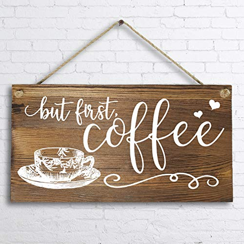 6'x 12' Rustic Solid Wood Wall Decor Decoration Sign for Kitchen Art or Office Art -But First Coffee.