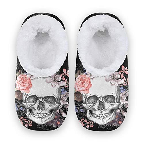 linomo Pantuflas con estampado floral de calavera de azúcar para mujer, pantuflas de casa para mujer, zapatos de casa, zapatos de dormitorio, calcetines, color Multicolor, talla 40/41 EU
