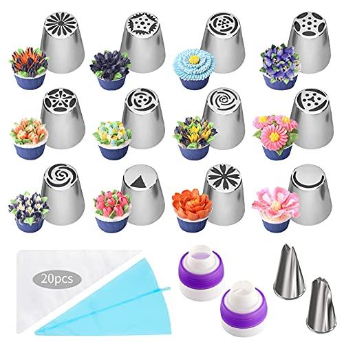 Boquillas de decoración de acero inoxidable,Kit de boquillas de tubería,Boquillas Manga Pastelera,Boquillas Pasteleras Profesionales,boquillas para pastel,boquillas para DIY (A)