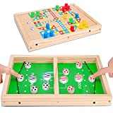 Wooden Toys Ludo Speed Pucks 2 in 1 Family Board Games Fun Travel Foosball Risk Adults Hydro Strike Fast Sling Hockey Table Game Boys Girls 3 4 5 6 Year Old Party Gifts for Teens Kids Ages 4-8 8-12