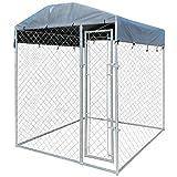 vidaXL Chenil d'Extérieur Toit pour Chiens 2x2x2,4m Cage Animaux Jardin Enclos