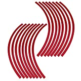 Elerose 16pcs Wheel Strip Rim Nastro Decorazione Trim Adatto per ruote auto, bici e mortorcycle da 16-19 pollici(Grande rosso)