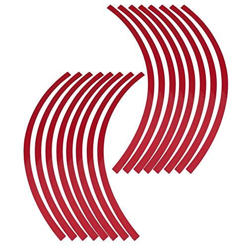 Elerose 16pcs Garniture de Décoration pour Ruban de jante à Rayures pour Roues, Roues de Voiture, de Vélo et de Mortier de 16 à 19 Pouces(Grand rouge)