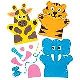 """Baker Ross Handpuppen-Nähsets """"Dschungeltiere"""" (4 Stück) AW545 – für Kinder zum Nähen – Bastelarbeiten mit Filzteilen und Dekorationen"""