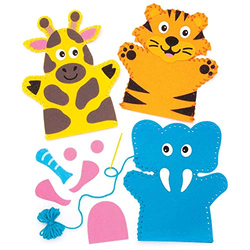 Baker Ross- Kits de costura de marionetas con animales de la jungla (Pack de 4), Actividad de manualidades infantiles con piezas de fieltro para coser