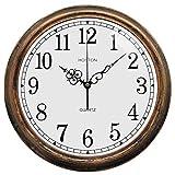 HOSTON 33CM Große Vintage Wanduhr Lautlos Ohne Tickgeräusche Moderne küchenuhr Bronze Retro wanduhren für Wohnzimmer Schlafzimmer Büro Schulbibliothek Hotel (Bronze, 33cm)