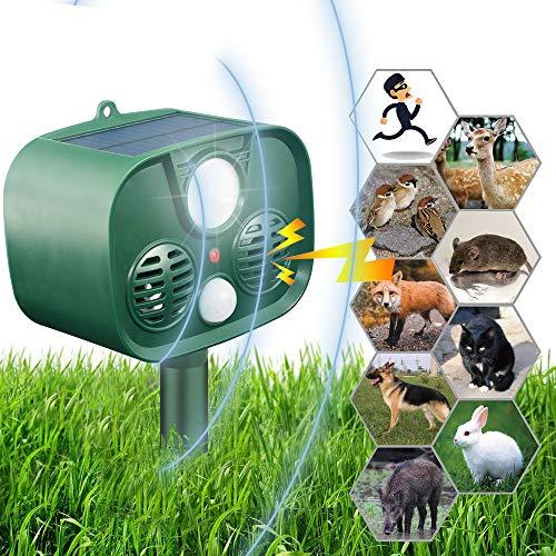 HOPSEM Cat Scarer Fox Deterrents for Gardens Cat Repellent Ultrasonic Solar Powered Animal Repeller Motion Sensor Flashing Lights Alarm Sound Alert Pest Dogs Birds etc