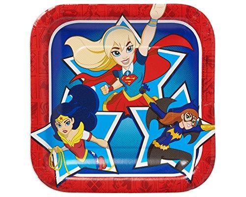 Amscan International–54160918cm DC Super Hero Niñas cuadrado placa de papel