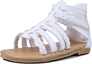 MuyGuay Toddler Girls Gladiator Sandals with Braided Strappy Girls Sandals Summer Shoes with Zipper for Baby Girls/Little Girls