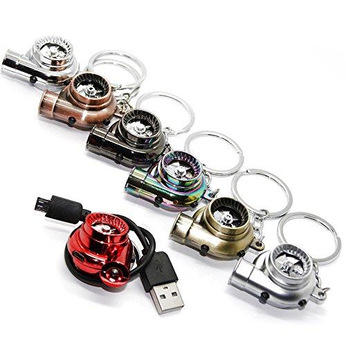 LED-Mafia® USB Elektro Turbo Schlüsselanhänger - Mit Sound & Licht Turbolader Keychain Chrom Metall Anhänger Schlüssel (Chrom Optik)