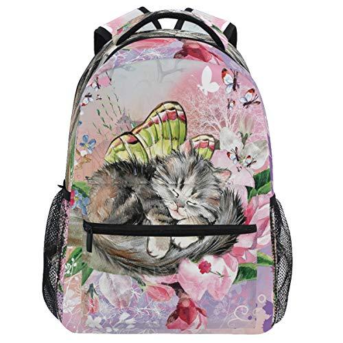 Oarencol Vintage mariposa gatito mochila bolsa de libro lindo animal gato flor mochila viaje senderismo camping escuela portátil bolsa