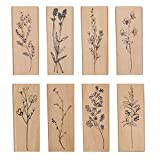 Pimoys 8 pcs Wood Mounted Rubber Stamps,Plant & Flower Decorative Wood Rubber Stamp for DIY Craft, Letters Diary and Craft Scrapbooking