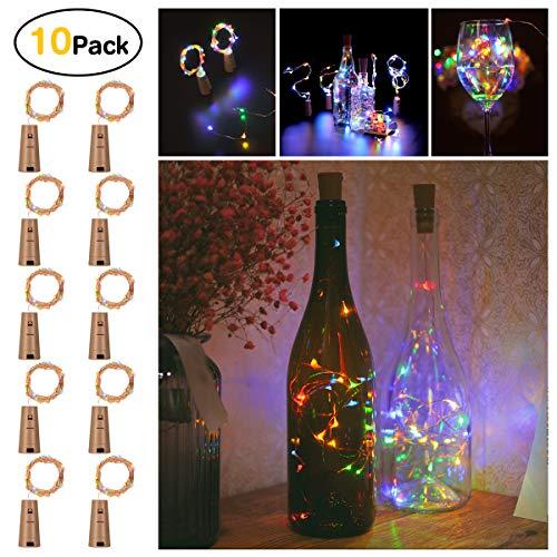 Sanniu Bottles Lights, 10 PacksCork Copper Starry Wine Bottle Fairy Lights for Bottle, Battery Operated Beer Bottle...