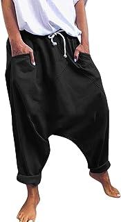 Keepmore Pantaloni da Uomo Unisex da Donna in Cotone Harem Yoga Larghi Hip-Hop con Apertura sul Cavallo Pantaloni con Tasc...